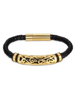 Hollow Out Carve Alloy Weaving Bracelet - Golden