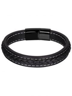 Bracelet Braid En Cuir Artificiel - Noir