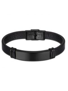 Bracelet Vintage En Cuir Artificiel - Noir
