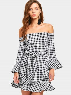 Belted Checked Off Shoulder Mini Dress - Checked S
