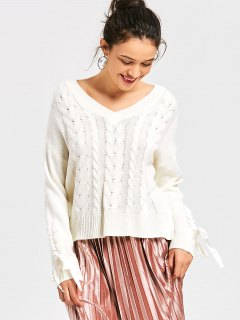 Lace Up Cable Knit V Neck Sweater - White