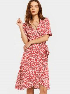 Slit Beach Printed Wrap Dress - Red S