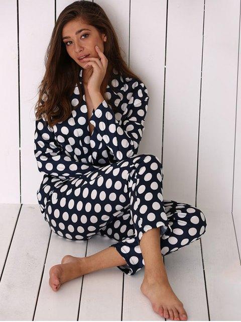 unique Allover Polka Dot Print Soft Pajama - BLUE L Mobile