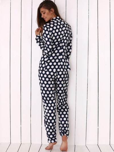 Allover Polka Dot Print Soft Pajama - BLUE L Mobile
