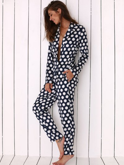 Allover Polka Dot Print Soft Pajama - BLUE XL Mobile