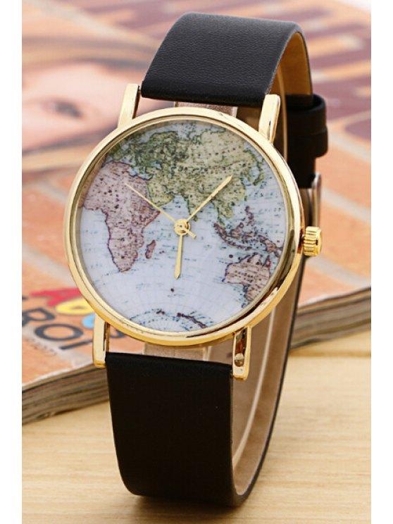 shop World Map Pattern Watch - BLACK