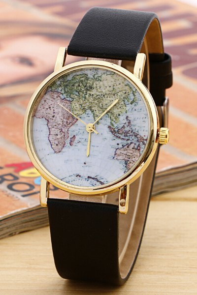 Chic World Map Pattern Watch
