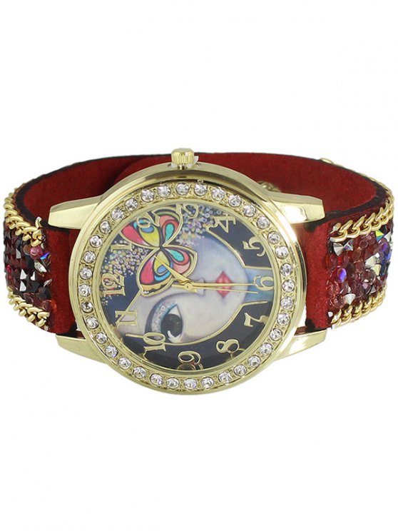 Rhinestone Butterfly Watch - RED  Mobile