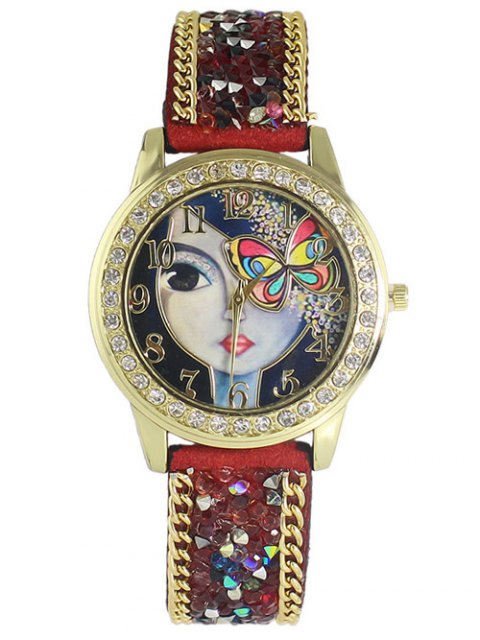 shops Rhinestone Butterfly Watch - RED  Mobile