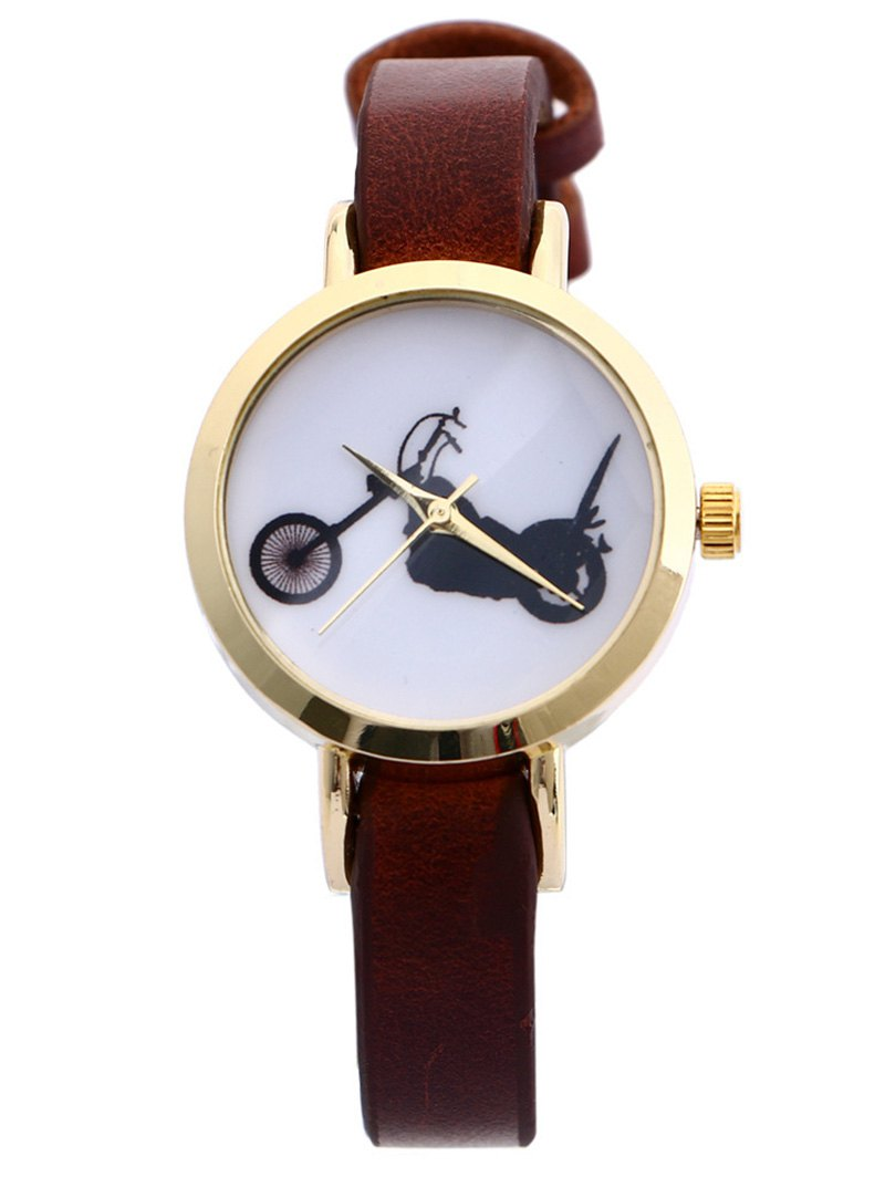 Image of Faux Leather Motorcycle Pattern Watch