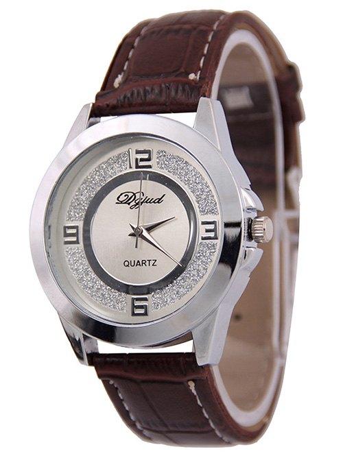 PU Leather Dull Polish Quartz Watch