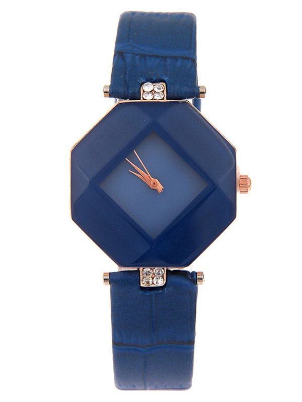 Faux Leather Rhinestone Geometric Shape Watch