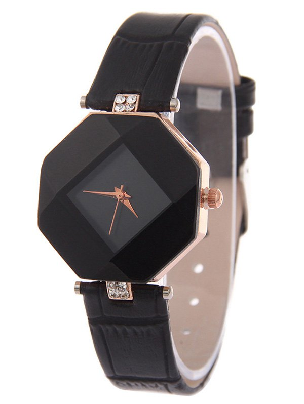 Faux Leather Rhinestone Geometric Shape Watch