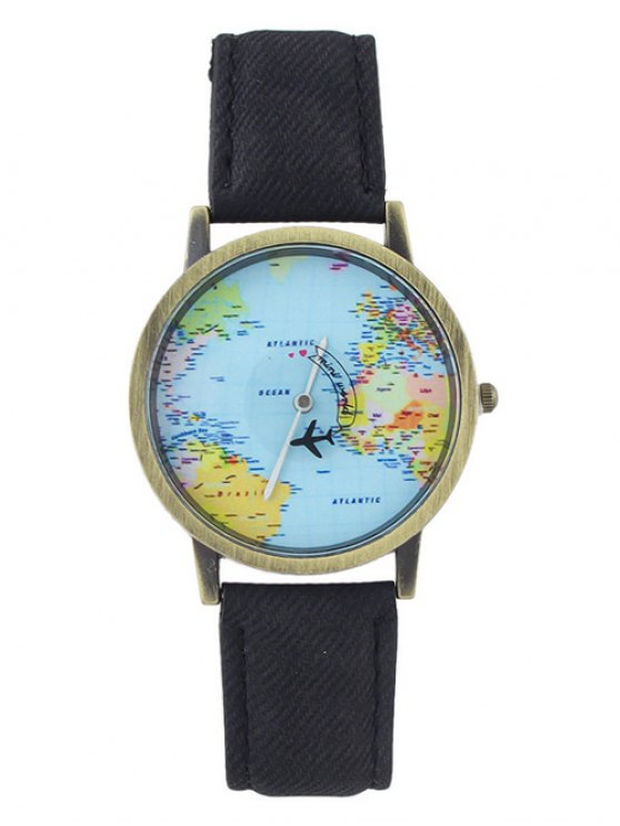 Faux Leather World Map Airplane Watch - BLACK  Mobile