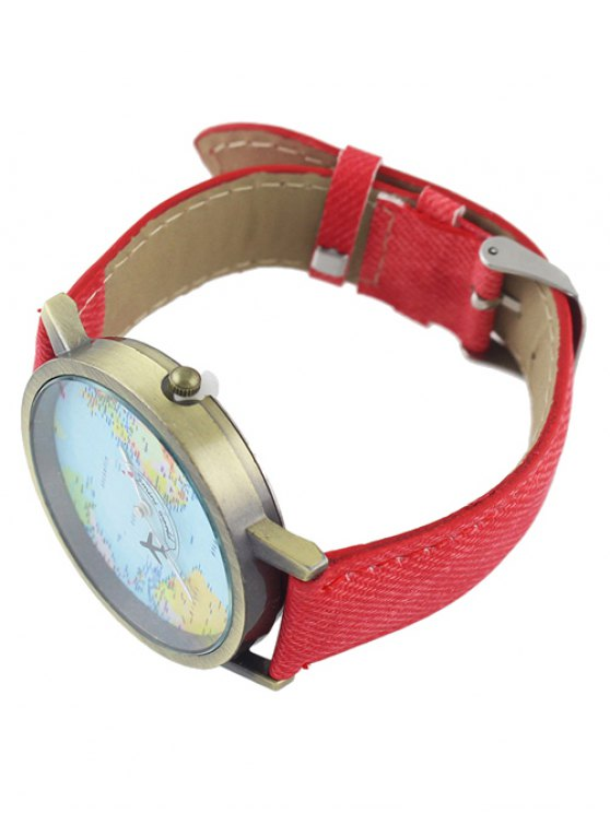Faux Leather World Map Airplane Watch - RED  Mobile