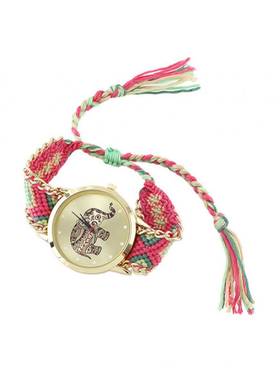Elephant Pattern Geometric Woven Rope Watch - HOT PINK  Mobile