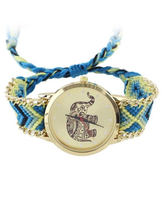 Patrón geométrico elefante tejido de cuerda del reloj - Azul