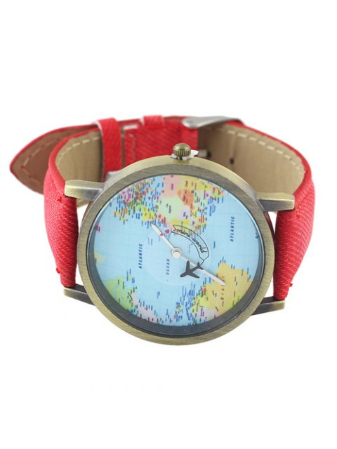 women's Faux Leather World Map Airplane Watch - RED  Mobile