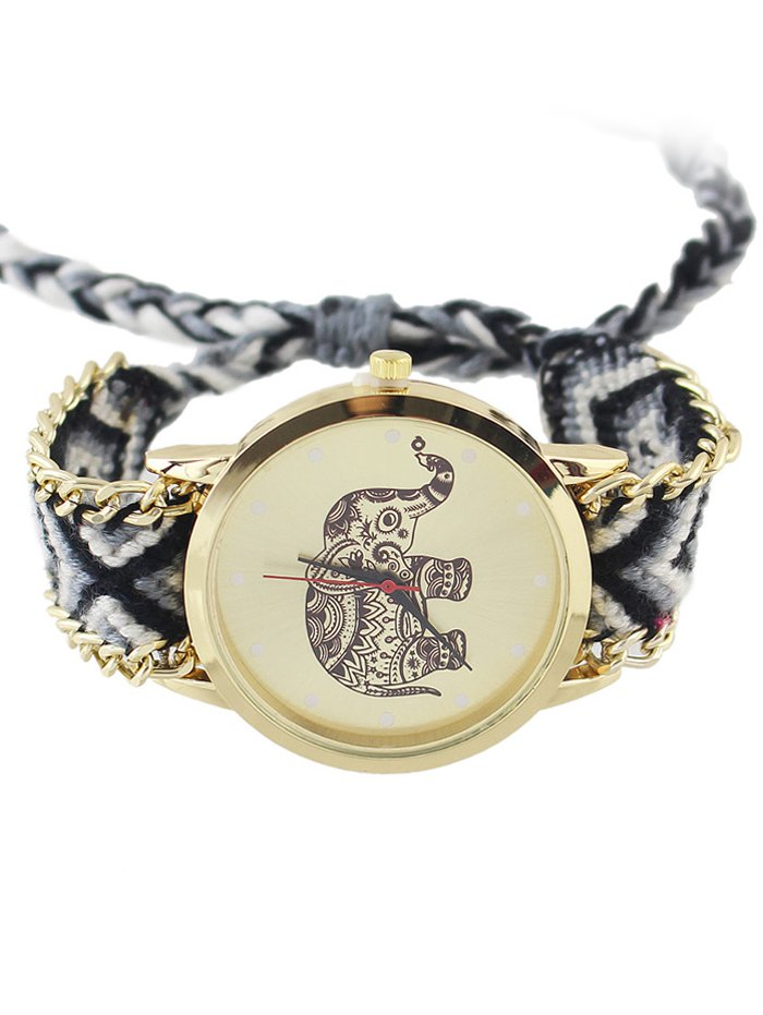 Geometric Woven Rope Elephant Pattern Watch