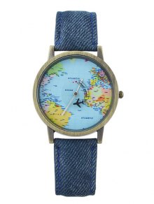 Buy Faux Leather World Map Airplane Watch BLUE