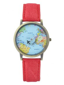 Faux Leather World Map Airplane Watch - Red