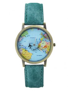 Buy Faux Leather World Map Airplane Watch GREEN