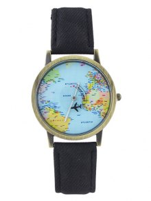 Faux Leather World Map Airplane Watch - Black