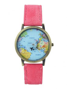 Buy Faux Leather World Map Airplane Watch PINK