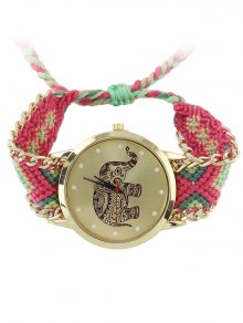 Elephant Pattern Geometric Woven Rope Watch - Hot Pink