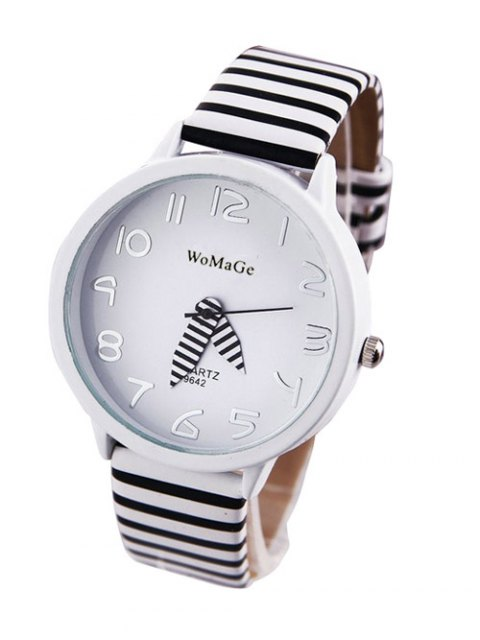 women's Stripe Pattern Watch - WHITE  Mobile