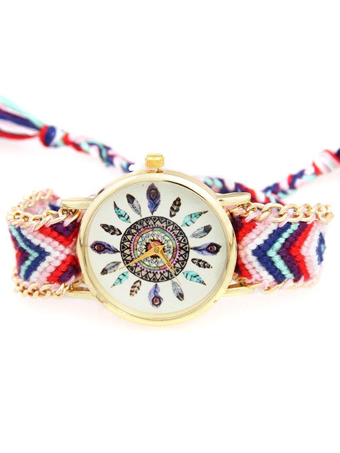 Feather Geometric Pattern Woven Watch