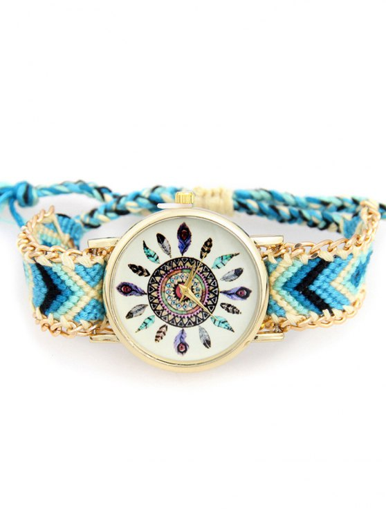 best Geometric Feather Pattern Woven Watch - WATER BLUE