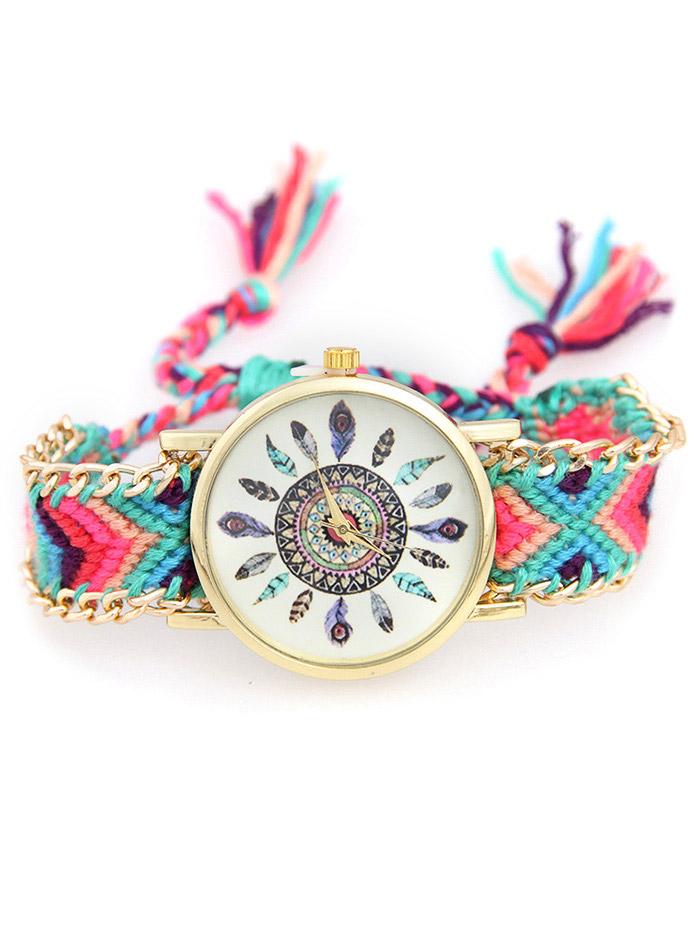 Geometric Feather Pattern Woven Watch
