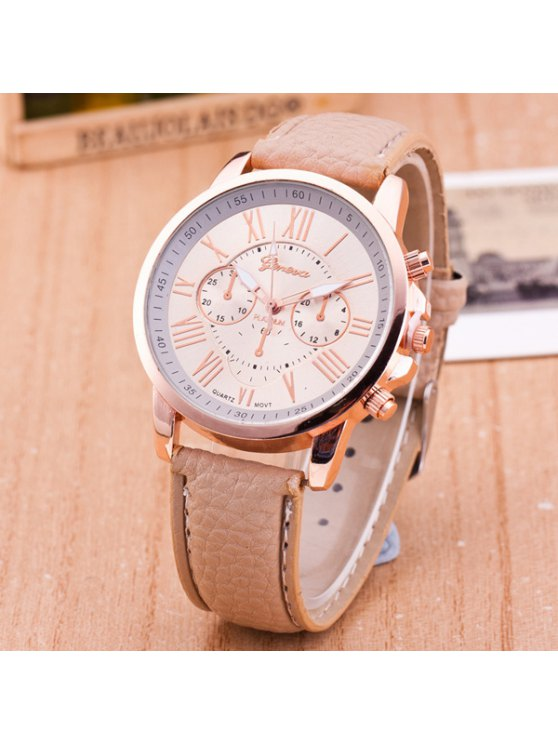 PU Leather Roman Numerals Quartz Table - KHAKI  Mobile