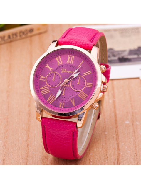 fashion PU Leather Roman Numerals Quartz Table - ROSE RED  Mobile