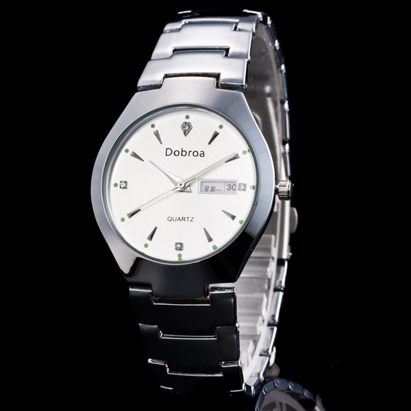 Vintage Stainless Steel Rhinestone Quartz Watch
