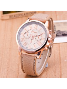 PU Leather Roman Numerals Quartz Table - Khaki