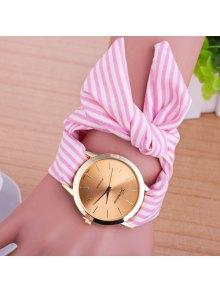 Bows Cloth Watchband Quartz Table