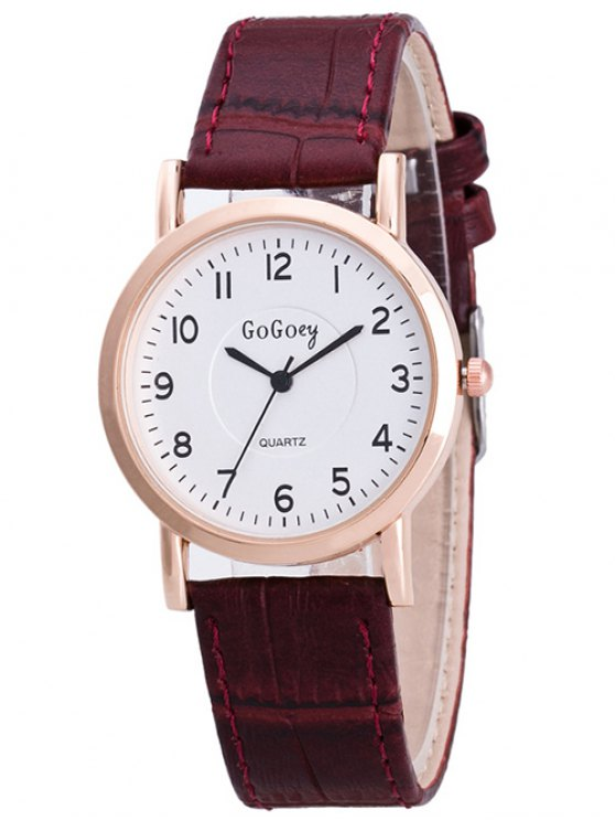 PU Leather Casual Quartz Watch - BROWN  Mobile