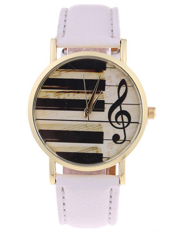 online PU Leather Music Note Piano Key Watch - WHITE