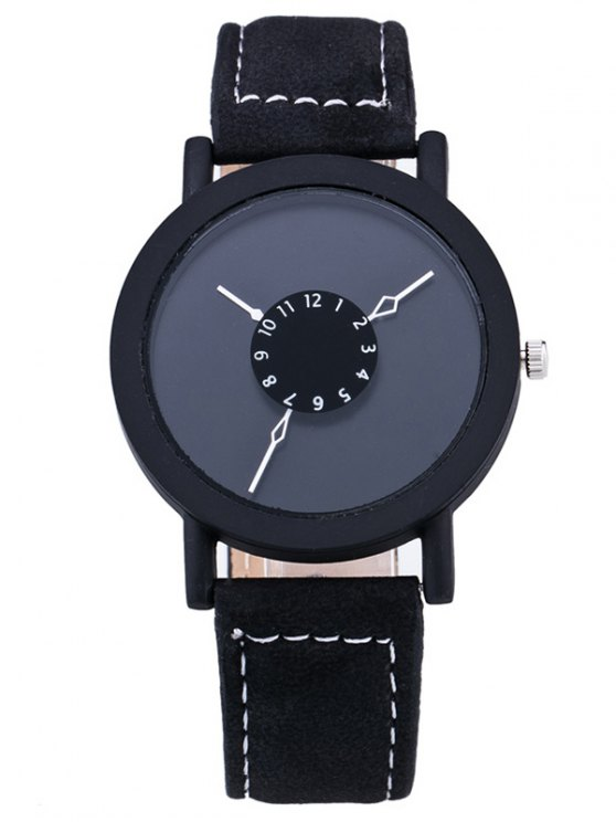 hot Vintage Circle Faux Leather Quartz Watch - BLACK