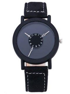 خمر دائرة فو جلدية كوارتز ساعة - أسود