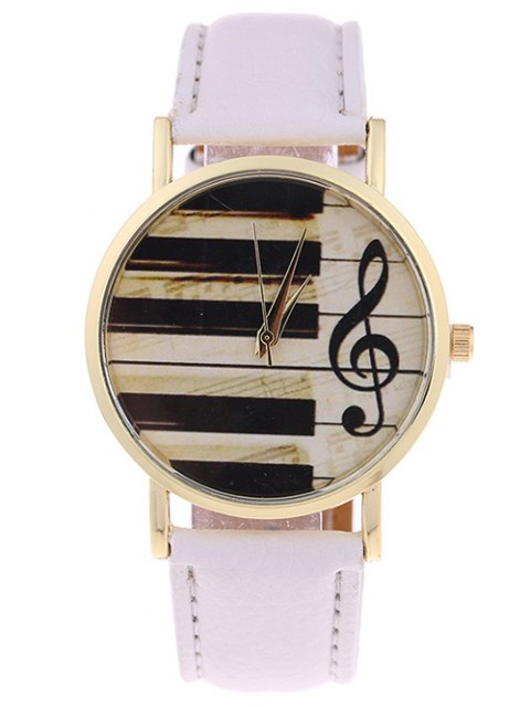 online PU Leather Music Note Piano Key Watch - WHITE  Mobile