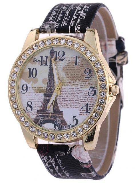 outfits Rhinestone PU Leather Eiffel Tower Watch - BLACK  Mobile