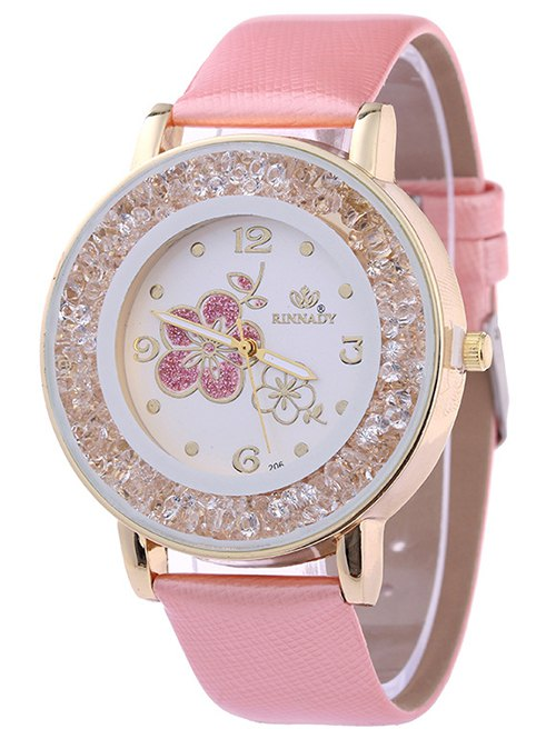 Faux Leather Rhinestone Flower Quartz Watch
