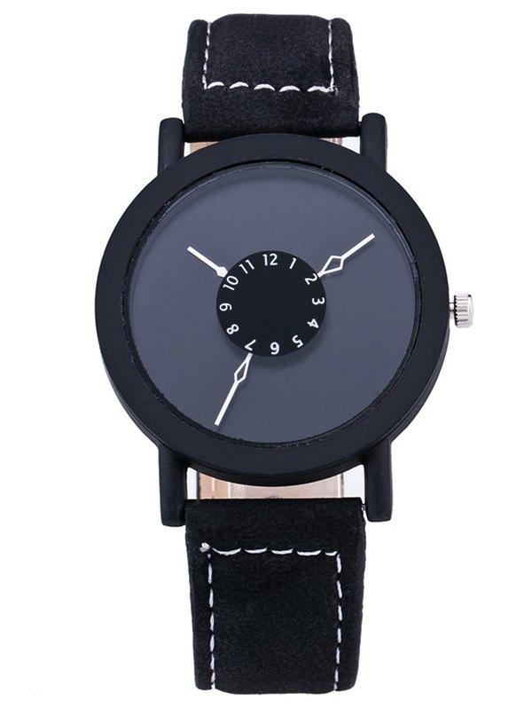 Vintage Faux Leather Circle Quartz Watch