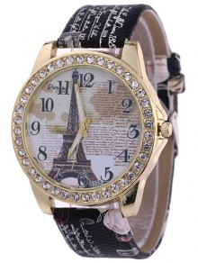 Rhinestone PU Leather Eiffel Tower Watch - Black