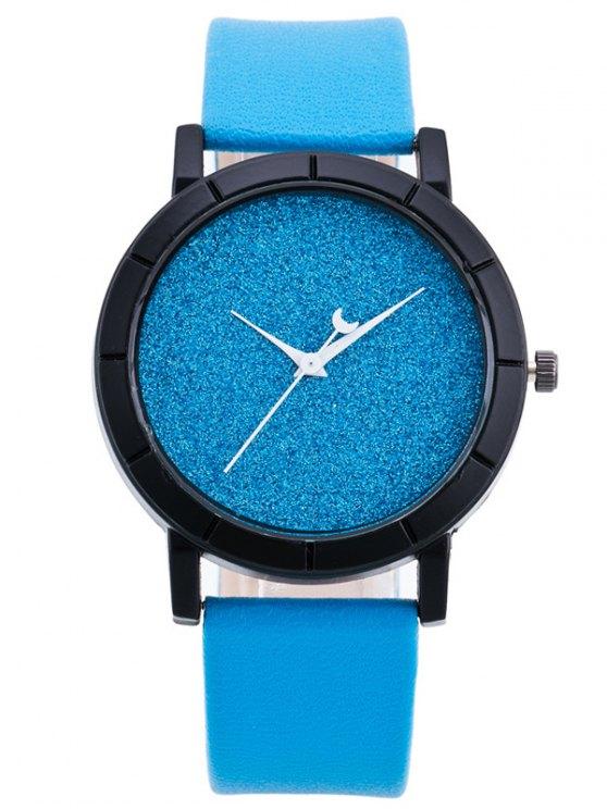 shop PU Leather Baby Breath Moon Quartz Watch - AZURE
