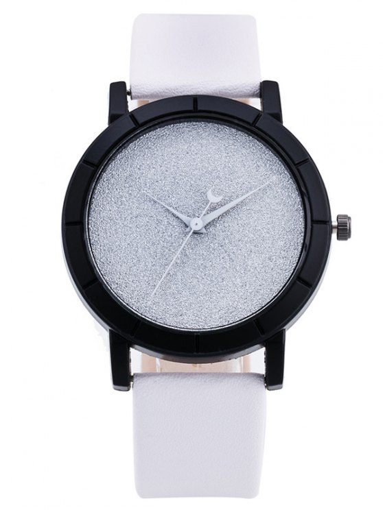 PU Leather Baby Breath Moon Quartz Watch - WHITE  Mobile