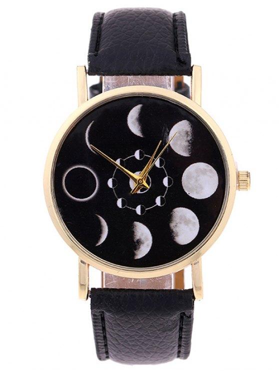 trendy Lunar Eclipse Faux Leather Quartz Watch - BLACK